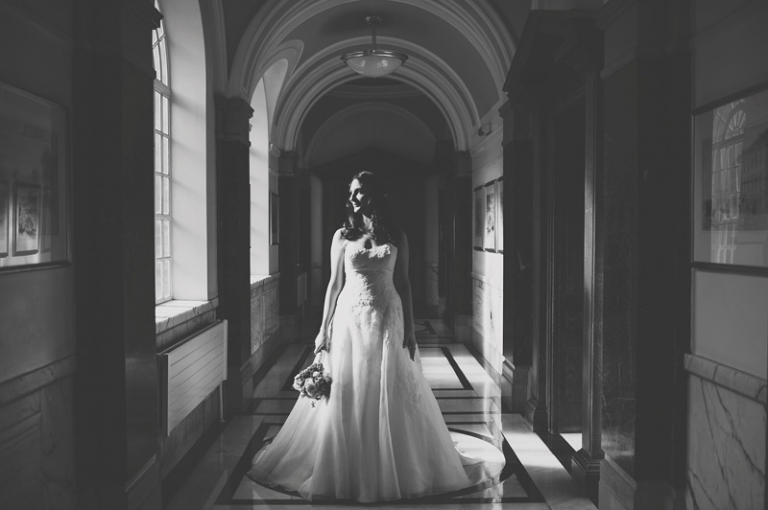 Bride in window light at Islington Town Hall